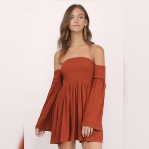 TOBI off the shoulder skater dress long bell sleev